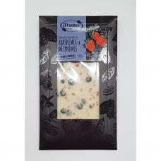 Baltasiss šokoladas su braškėmis ir mėlynėmis. 100 g. Rūta