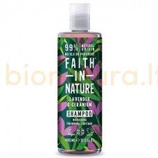Faith in Nature Levandų ir pelargonijų šampūnas normaliems ir sausiems plaukams 400 ml