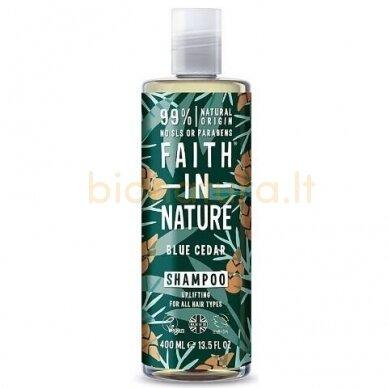 Faith in Nature Mėlynųjų kedrų šampūnas vyrams su vitaminu E 400 ml