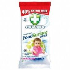 Green Shield FOOD antibakterinės drėgnos servetėlės 70vnt
