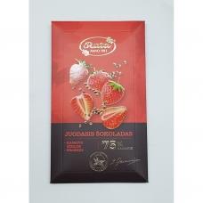 Juodasis šokoladas 75%, kanapių sėklos, braškės. 100 g. Rūta