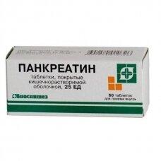 Pankreatinas, maisto papildas,  N60 dengtos tabletės